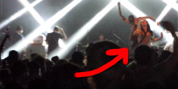 Singer Parker Cannon droping Kicking a female fan Off Stage!