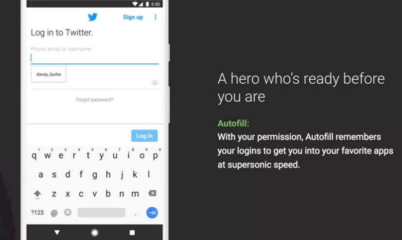 Auto fill feature of Android o