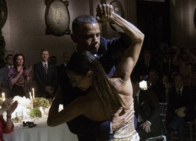 President Obama enjoy tango with dancers