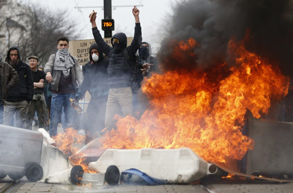 A student demonstration in France turned violent on Thursday
