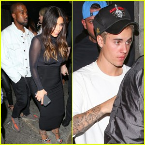 kim kardashian kanye Parties with Justin Bieber after L.A concert