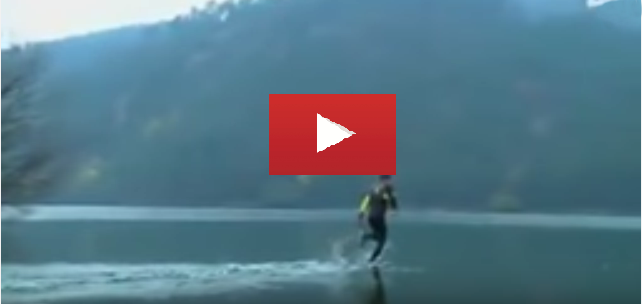 Amazing Stunts Video : Is this possible man run on water? Real video