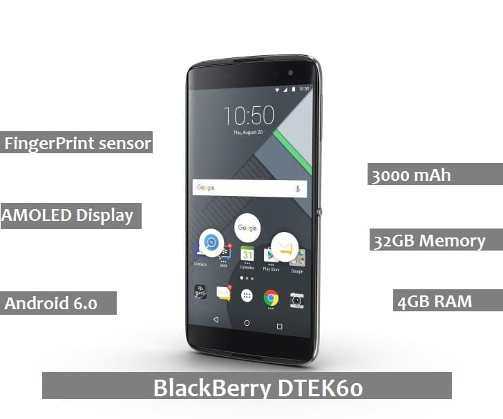 BlackBerry DTEK60 Review : Advantages | Disadvantages | Price | Launch Date