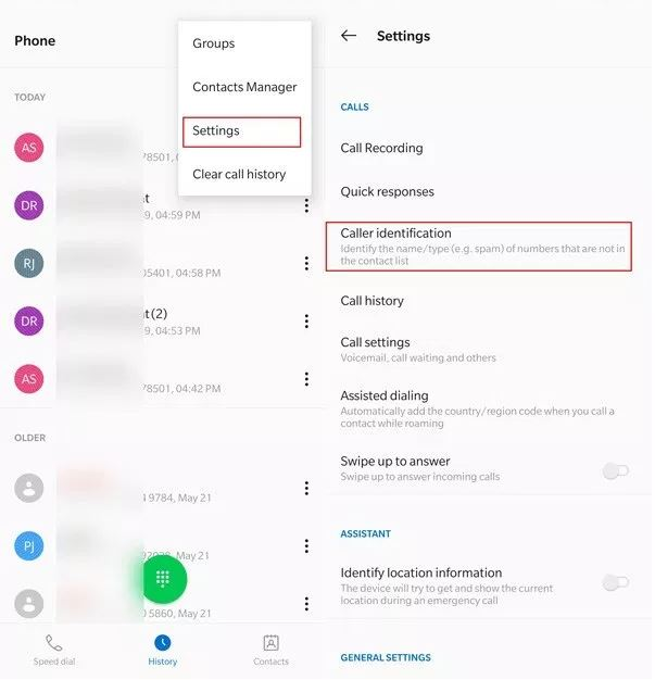 how to activate call identification in oneplus 7 pro and oneplus 7