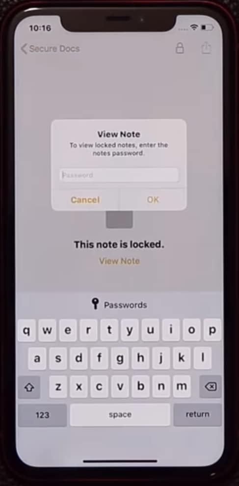 How to Change the Notes or Secure docs folder Passcode: